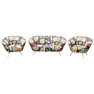 3 pc. Gio Ponti Style Brass Leg Sofa Set