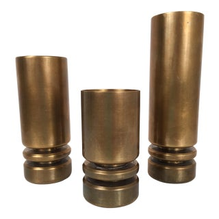 1960's Bronze Candleholders - Set of 3