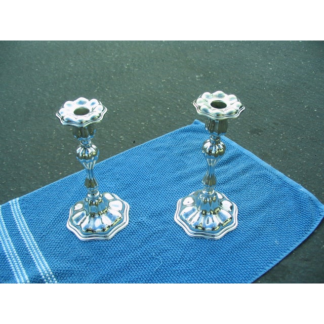 C.G.Hallbergs Silver Plate Candlesticks - A Pair - Image 2 of 4