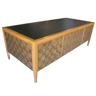 Paul Evans Style Brutalist Executive Desk and Credenza