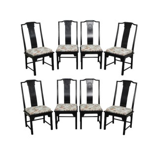 Century Furniture Asian Inspired Set of 8 Ebony Cordovan Finish Dining Chairs