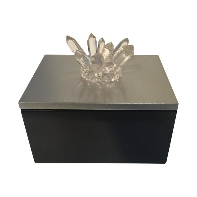 Black Lacquered Box with Faux Quartz - Image 1 of 8