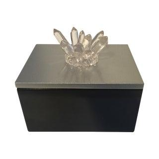 Black Lacquered Box with Faux Quartz