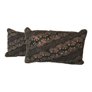 Metallic Fabric Black & Gold Pillows - A Pair