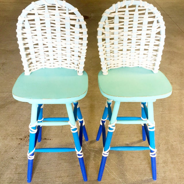 Nautical Wooden Bar Stools - A Pair - Image 2 of 8