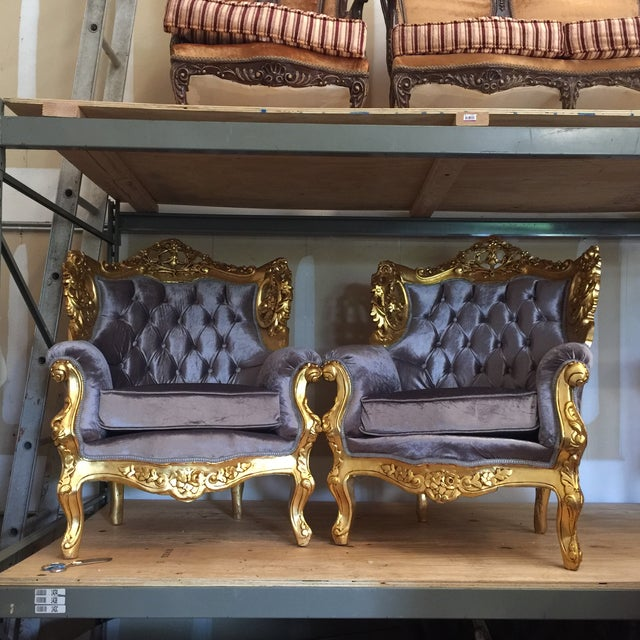 Gilded Purple Velvet Upholstered Chairs - A Pair - Image 2 of 5