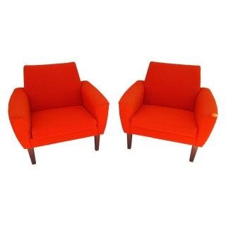 Orange Danish Modern Chairs - a Pair