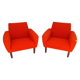 Orange Danish Modern Chairs - a Pair