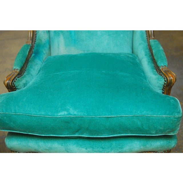 Louis XV Turquoise Velvet Wingback Chairs - Image 2 of 7
