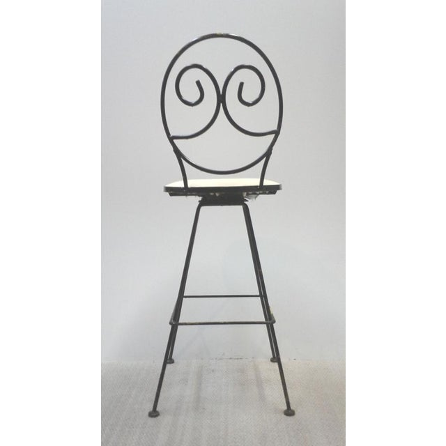 Image of Woodard Scrolled Back Iron Bar Stools - A Pair