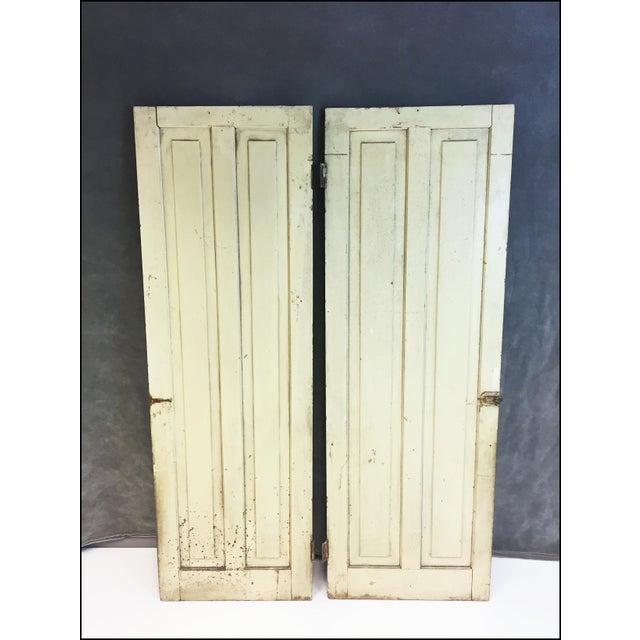 Vintage Rustic Yellow Milk Painted Cabinet Doors - A Pair - Image 10 of 11