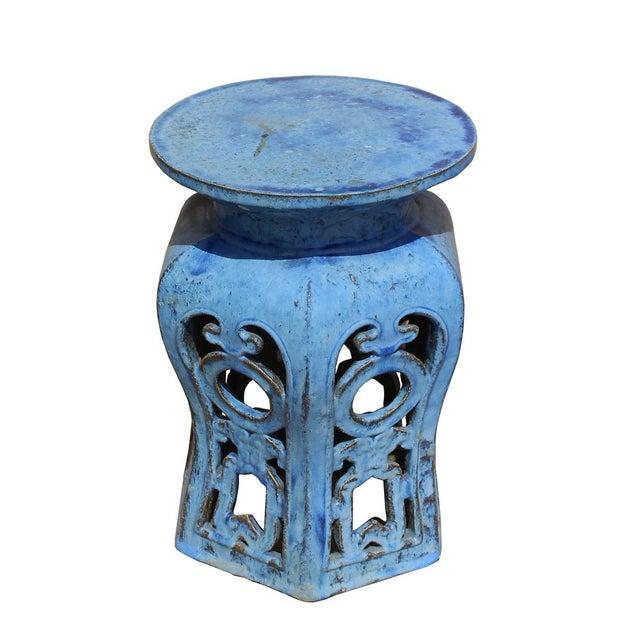 Chinese Distressed Blue Round Ru Yi Clay Ceramic Garden Stool - Image 2 of 7
