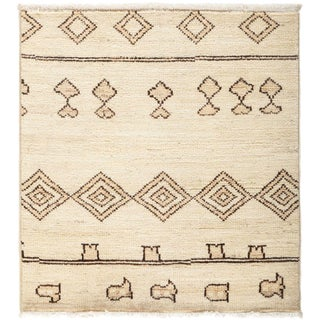 """Moroccan Hand Knotted Area Rug - 3' 2"""" X 3' 4"""""""