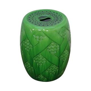 Vintage Green Pottery Faux Cane Pattern Garden Seat