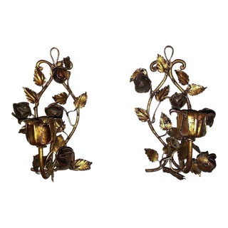 Vintage Italian Gold Gilt Rose Tole Wall Sconces - A Pair