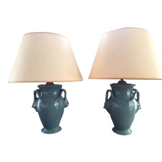 Identical Antique Pottery Lamps–A Pair