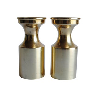 Mid Century Brass Candle Holders - a Pair