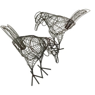 Wire Chickens Decorations - A Pair