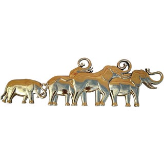 1960's Gold Herd of Elephants Wall Art