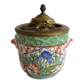 Antique French Porcelain Lidded Inkwell