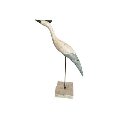 Image of Maitland Smith Tesselated Stone and Brass Crane