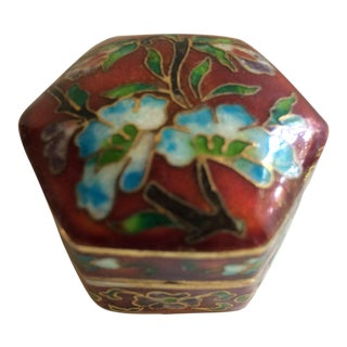Vintage Red Blue White Green Cloisonné Pill Box