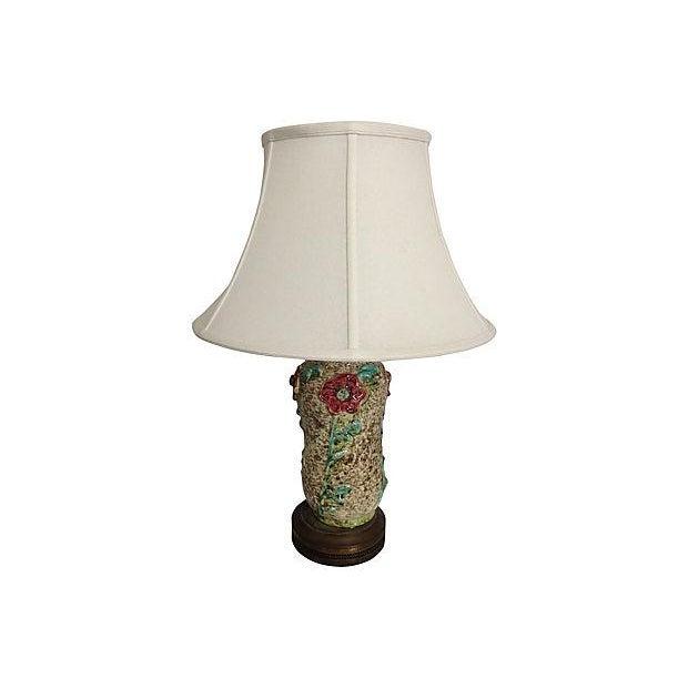 1960s Ceramic Textured Flower Lamps - Pair - Image 2 of 6