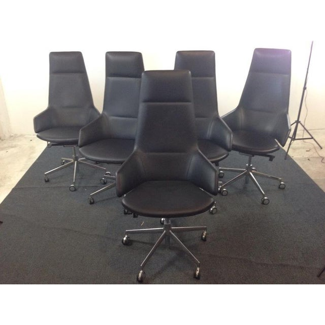 Jean-Marie Massaud Leather Upholstered 'Aston' Style Office Chairs - Set of 5 - Image 2 of 5