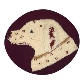 Stumpwork Textile Picture of a Dog's Head