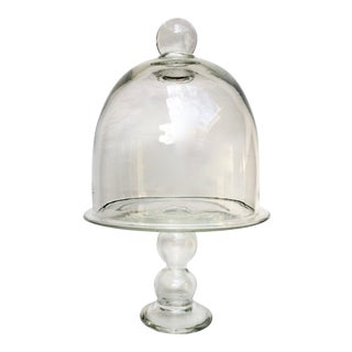 Blown Glass Cake Stand With Lid