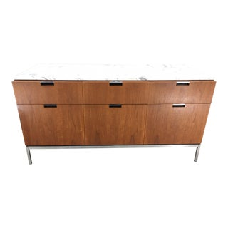 Florence Knoll 6 Drawer Carrera Marble Top Teak Chest