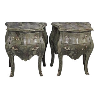 Louis XV Faux Snakeskin Bombe Chest Nightstands- A Pair