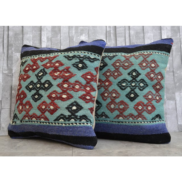 Hand-Woven Turkish Kilim Pillow Covers - A Pair - Image 2 of 7