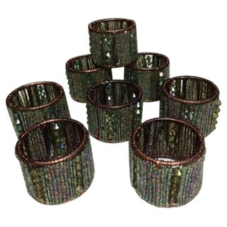 Hand Beaded Napkin Rings - Set of 8
