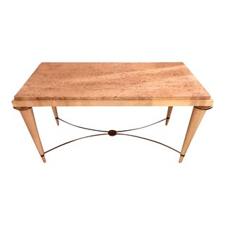 Mid-Century Modern Coffee Table Inset Travertine Marble-Top and Brass Stretcher