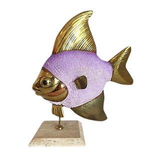 Leather & Brass Fish Sculpture