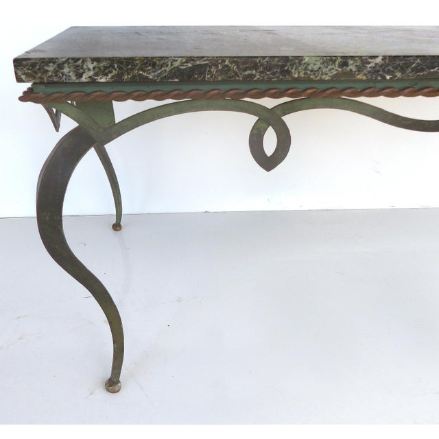 Iron Marble Top Coffee Table: Mid-Century Marble Top Forged Iron Coffee Table