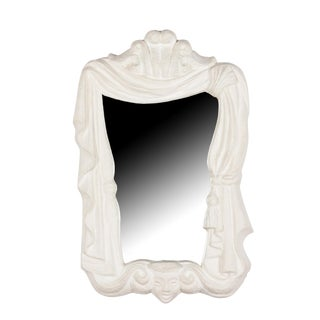 Plaster Frame Mirror with Draping Motif, French, circa 1940