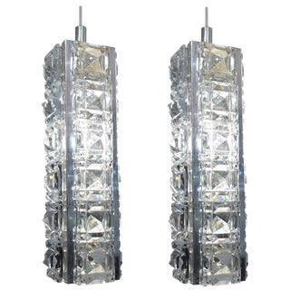 Pair of Jeweled Austrian Pendant Lights