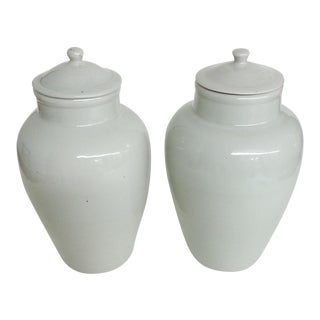 White Garniture Jars - A Pair