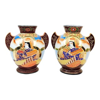 Japanese Satsuma Goddess Double Handle Vase-A Pair
