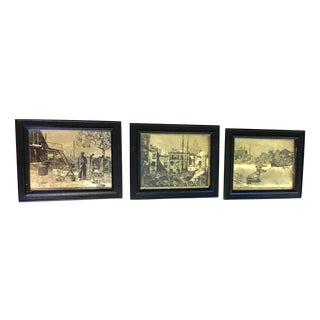 Vintage Gold Pictures in Black Frames - Set of 3