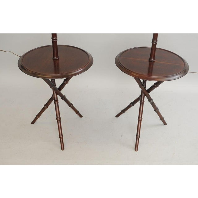 Chinese Chippendale Faux Bamboo Lamp Tables - A Pair - Image 5 of 11