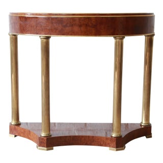 Mastercraft Burl Wood and Brass Demilune Console Table
