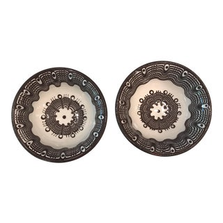 Handmade Bulgarian Bairak Ceramic Bowls - A Pair