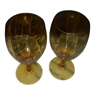 Transitional Amber Glass Goblets - A Pair