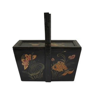 Vintage Chinese Rectangular Fish and Longevity Peach Food Bucket