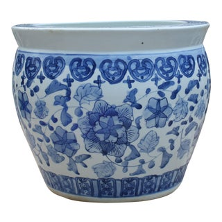 Blue and White Fishbowl Chinoiserie Planter