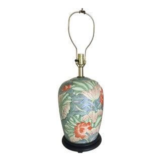 Floral Ginger Jar Lamp With Dark Wood Base