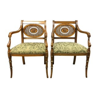 Wood & Wicker Woven Detailed Chairs - Pair